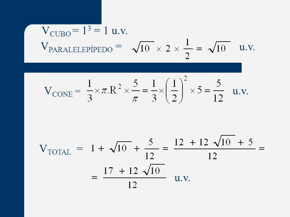 VCUBO = 13 = 1 u.v. VPARALELEPÍPEDO = u.v. VCONE = u.v. VTOTAL = u.v.
