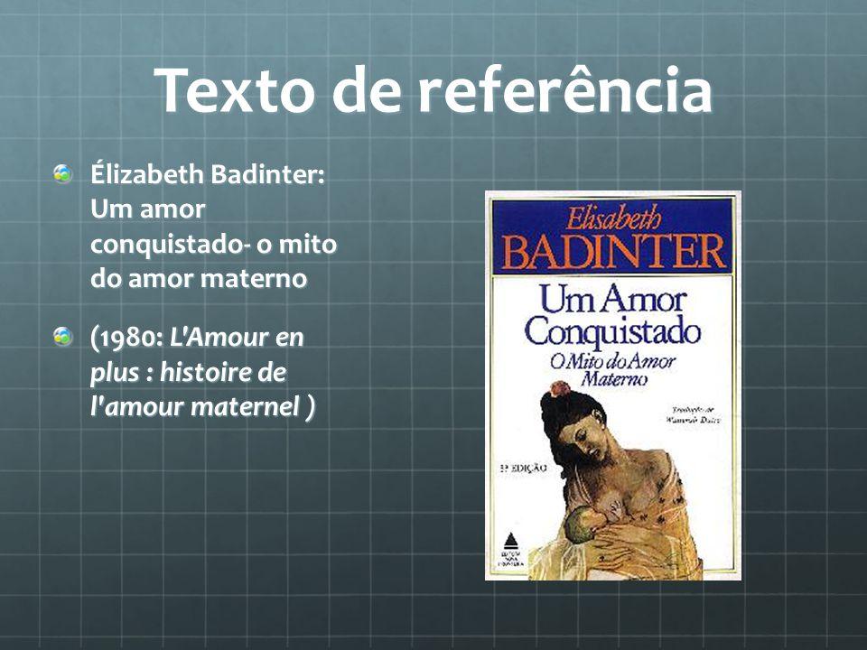 Texto de referência Élizabeth Badinter: Um amor conquistado- o mito do amor materno.