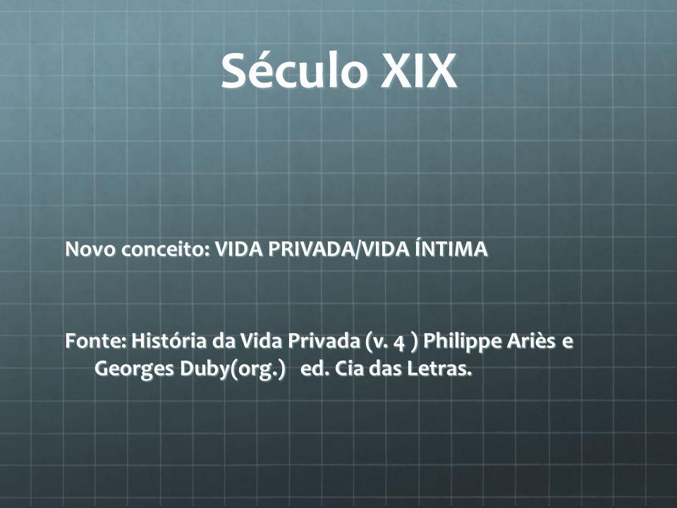 Século XIX Novo conceito: VIDA PRIVADA/VIDA ÍNTIMA Fonte: História da Vida Privada (v.