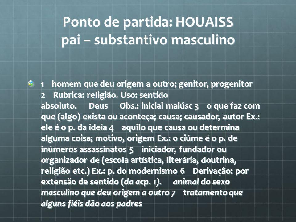 Ponto de partida: HOUAISS pai – substantivo masculino