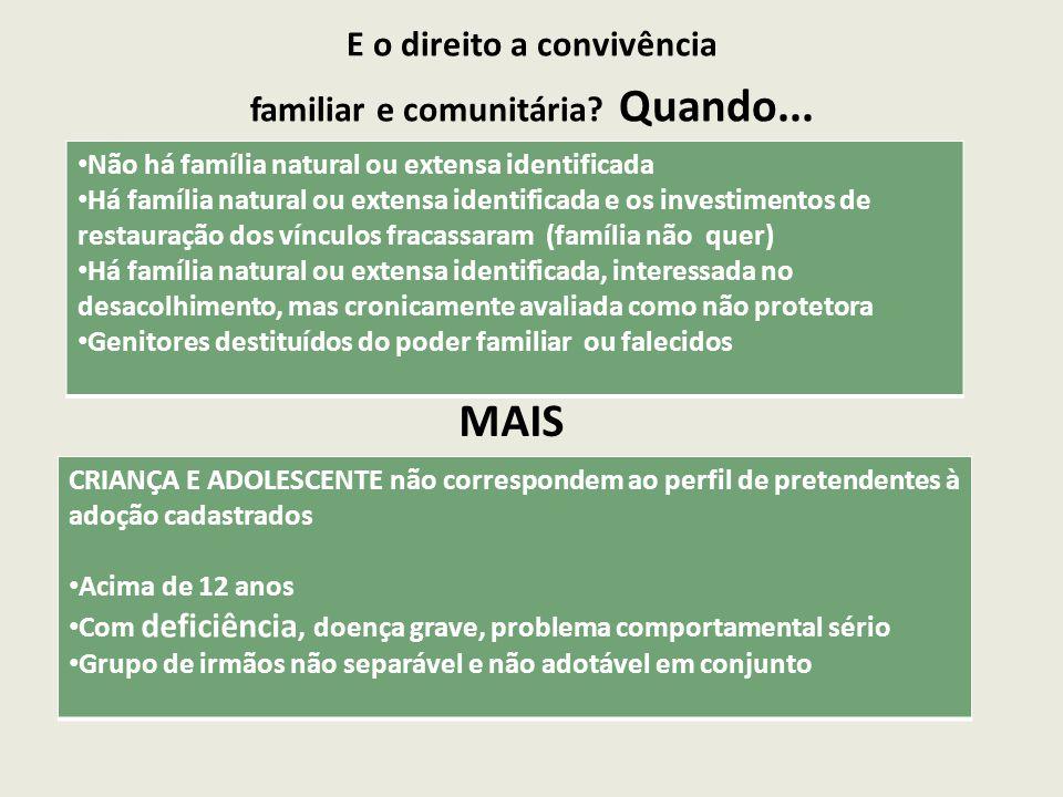 E o direito a convivência familiar e comunitária Quando...