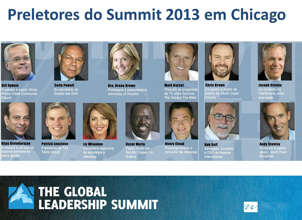 Preletores do Summit 2013 em Chicago