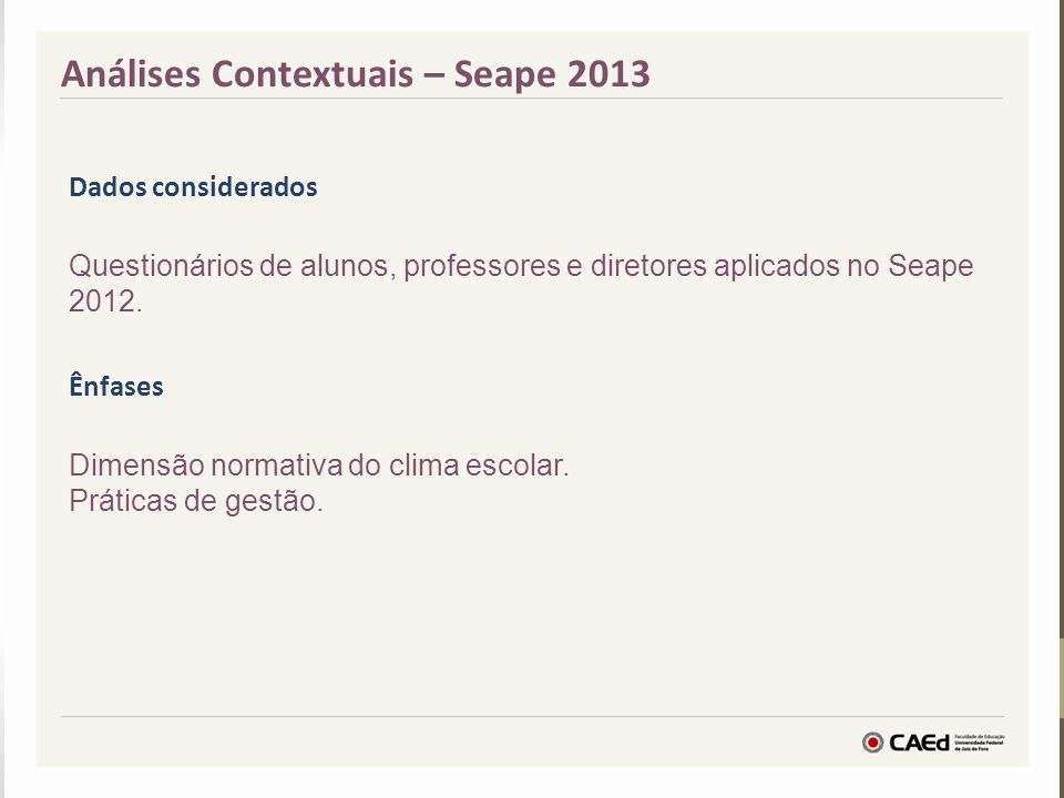 Análises Contextuais – Seape 2013