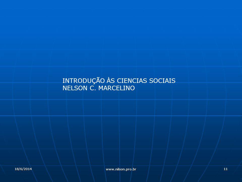 INTRODUÇÃO ÀS CIENCIAS SOCIAIS NELSON C. MARCELINO