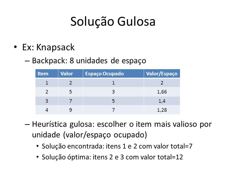 Solução Gulosa Ex: Knapsack Backpack: 8 unidades de espaço