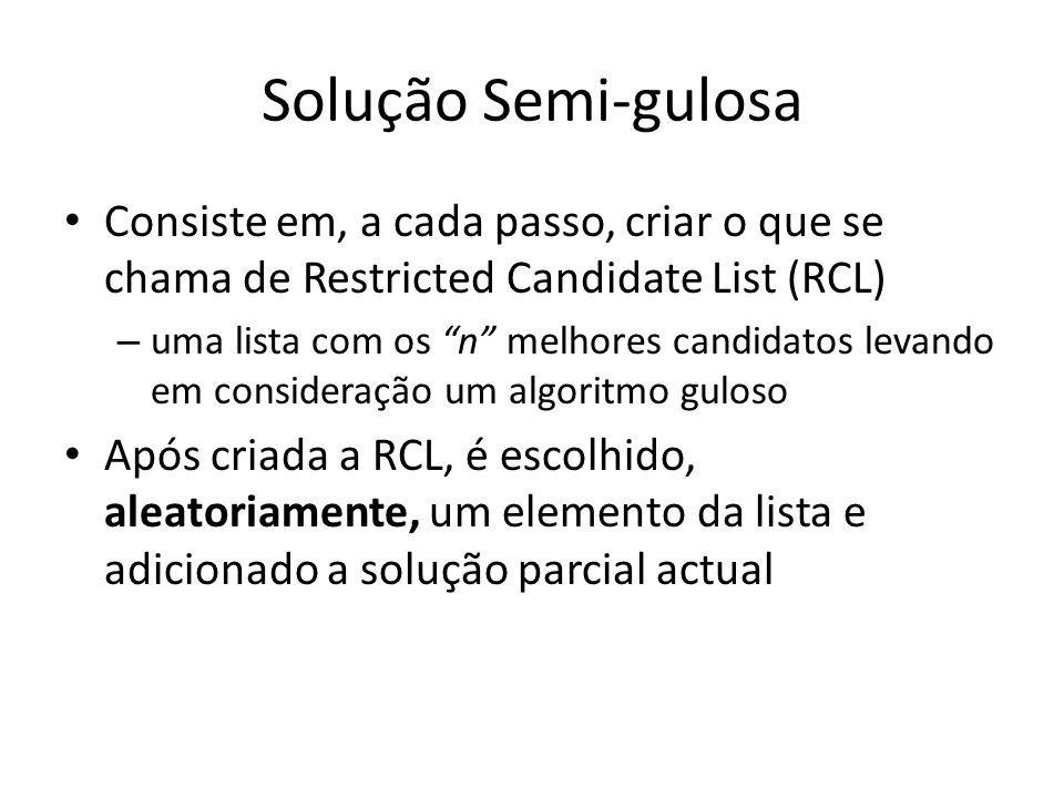 Solução Semi-gulosa Consiste em, a cada passo, criar o que se chama de Restricted Candidate List (RCL)
