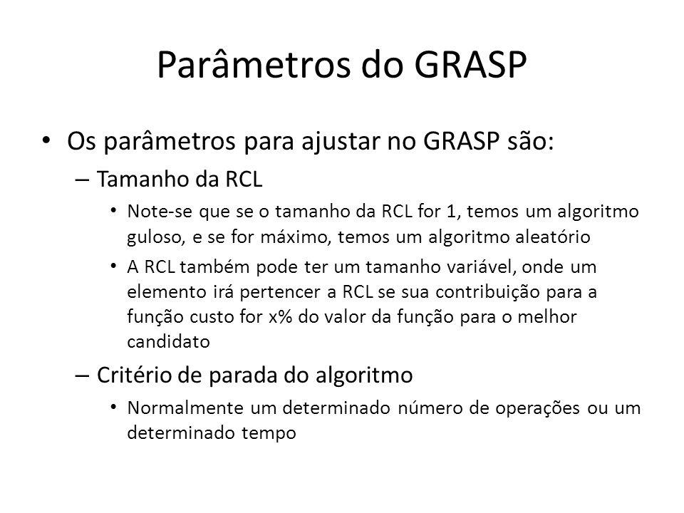 Parâmetros do GRASP Os parâmetros para ajustar no GRASP são: