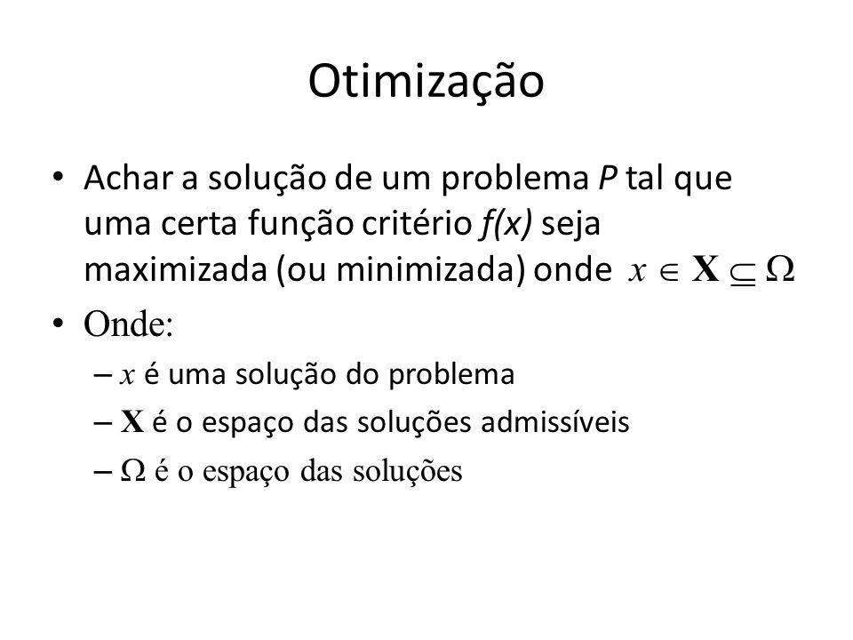 Otimização Achar a solução de um problema P tal que uma certa função critério f(x) seja maximizada (ou minimizada) onde x  X  