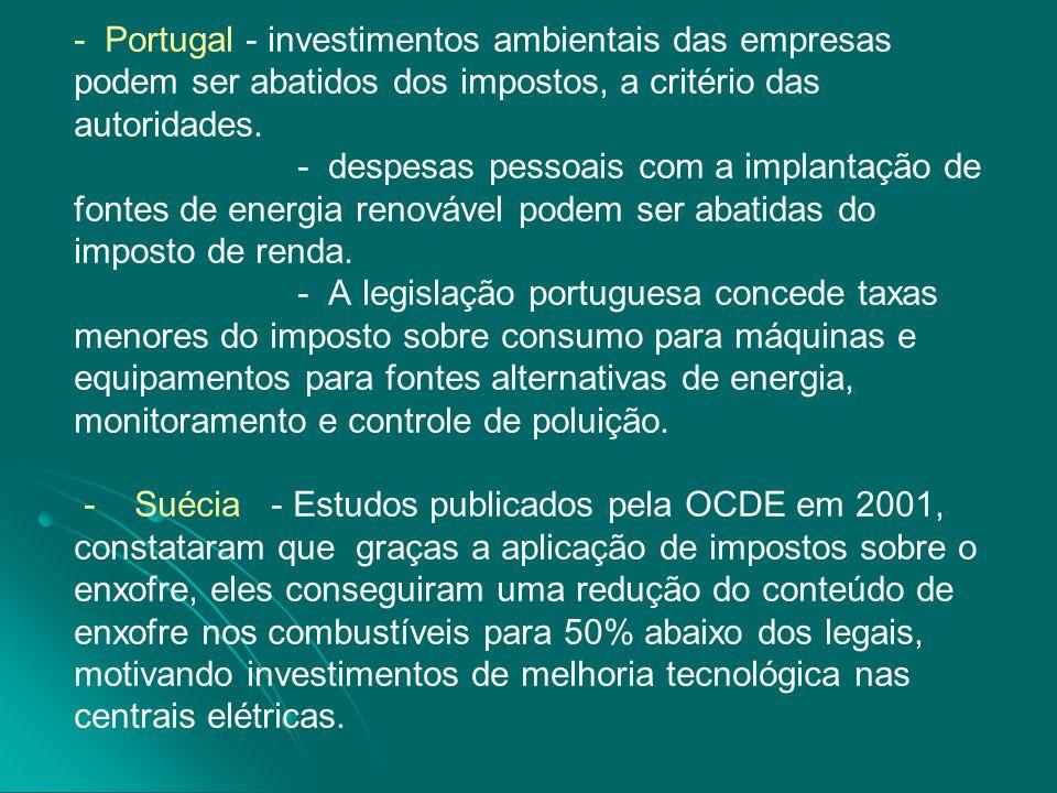 - Portugal - investimentos ambientais das empresas podem ser abatidos dos impostos, a critério das autoridades.