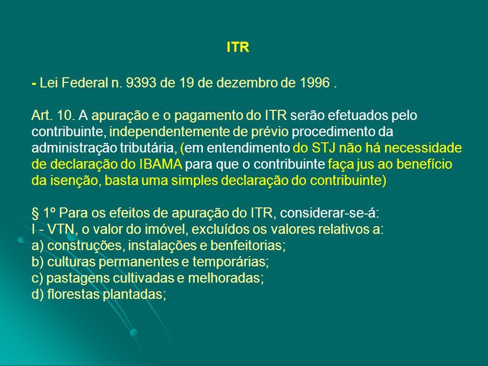 ITR - Lei Federal n. 9393 de 19 de dezembro de 1996. Art. 10