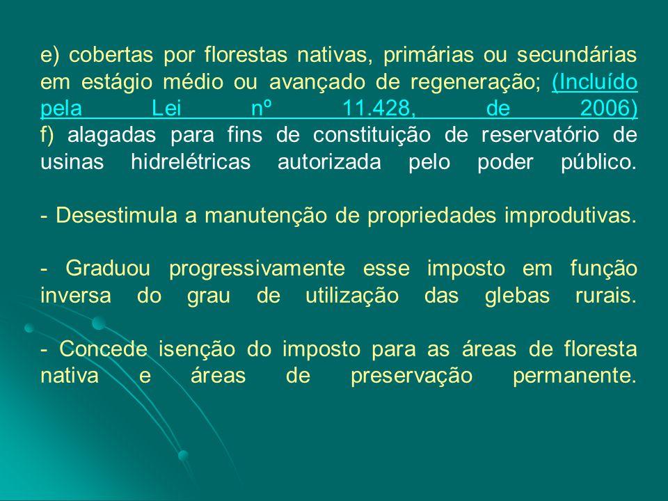 e) cobertas por florestas nativas, primárias ou secundárias em estágio médio ou avançado de regeneração; (Incluído pela Lei nº 11.428, de 2006) f) alagadas para fins de constituição de reservatório de usinas hidrelétricas autorizada pelo poder público.