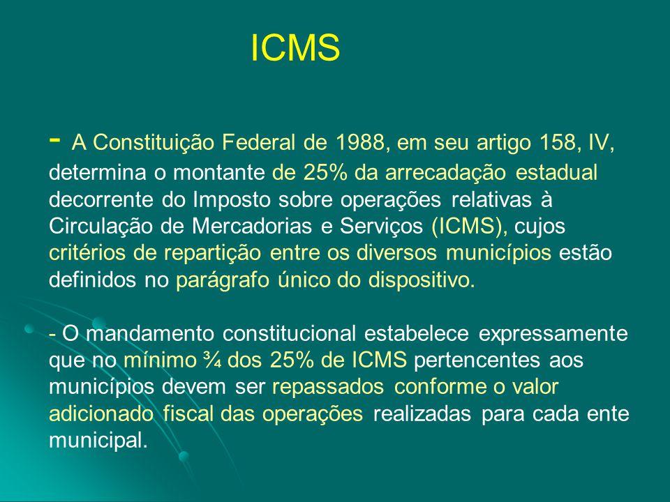 ICMS - A Constituição Federal de 1988, em seu artigo 158, IV, determina o montante de 25% da arrecadação estadual decorrente do Imposto sobre operações relativas à Circulação de Mercadorias e Serviços (ICMS), cujos critérios de repartição entre os diversos municípios estão definidos no parágrafo único do dispositivo.