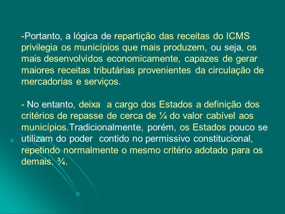 -Portanto, a lógica de repartição das receitas do ICMS privilegia os municípios que mais produzem, ou seja, os mais desenvolvidos economicamente, capazes de gerar maiores receitas tributárias provenientes da circulação de mercadorias e serviços.