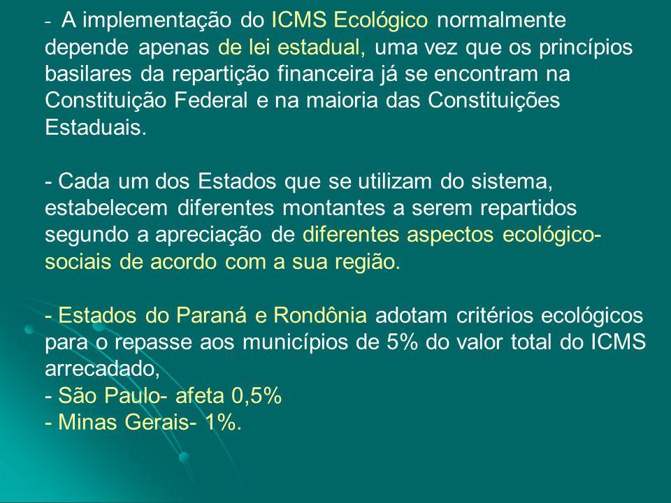 A implementação do ICMS Ecológico normalmente depende apenas de lei estadual, uma vez que os princípios basilares da repartição financeira já se encontram na Constituição Federal e na maioria das Constituições Estaduais.