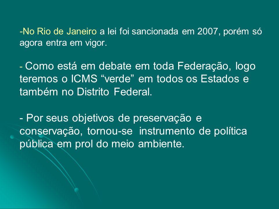 -No Rio de Janeiro a lei foi sancionada em 2007, porém só agora entra em vigor.