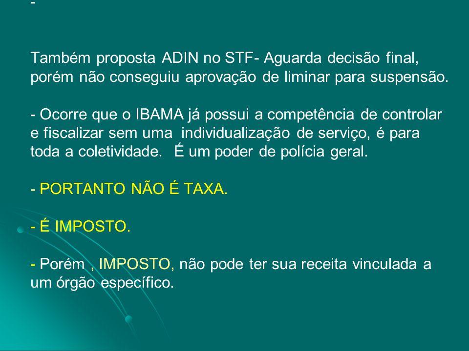 Também proposta ADIN no STF- Aguarda decisão final, porém não conseguiu aprovação de liminar para suspensão.