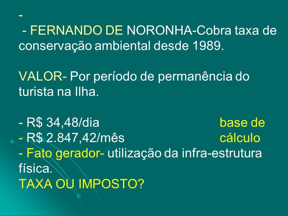 - FERNANDO DE NORONHA-Cobra taxa de conservação ambiental desde 1989