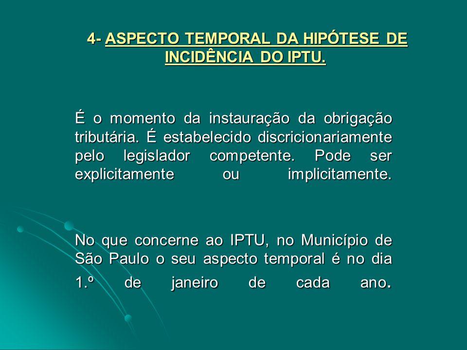 4- ASPECTO TEMPORAL DA HIPÓTESE DE INCIDÊNCIA DO IPTU.