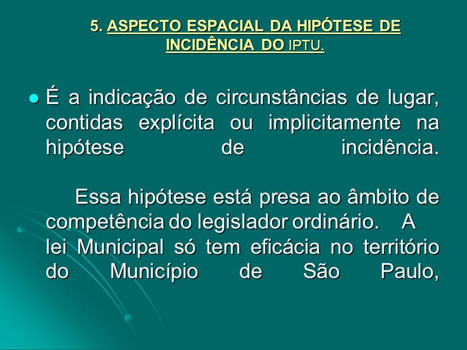 5. ASPECTO ESPACIAL DA HIPÓTESE DE INCIDÊNCIA DO IPTU.