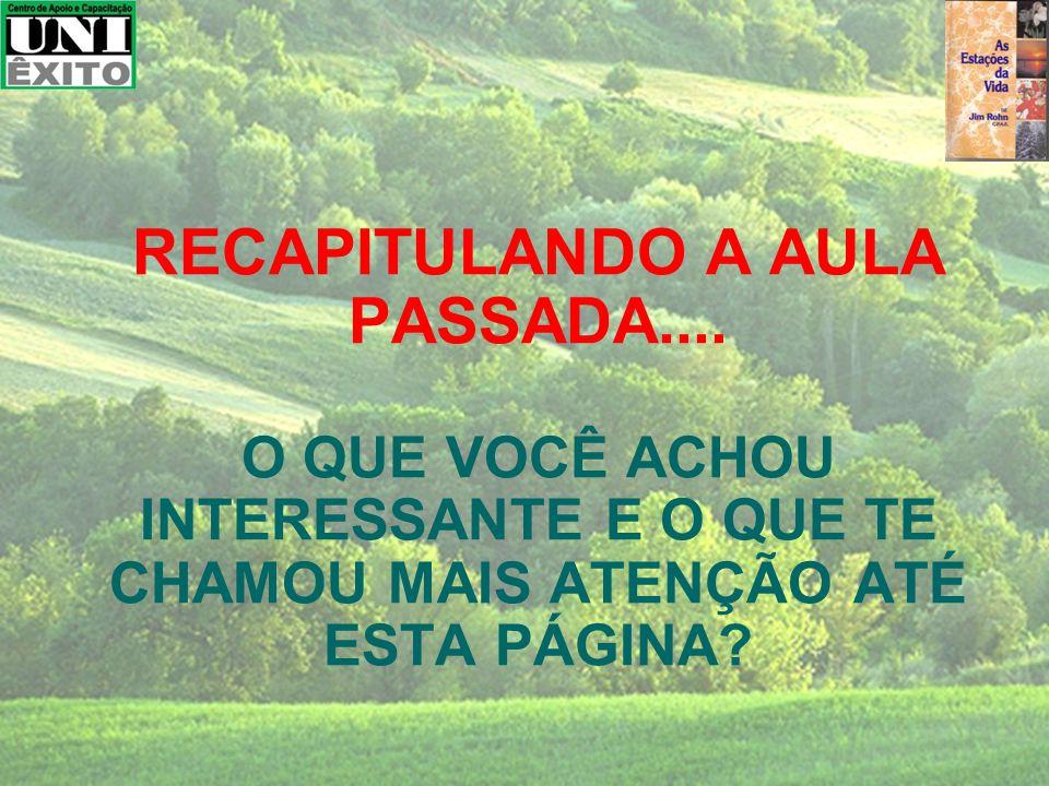 RECAPITULANDO A AULA PASSADA