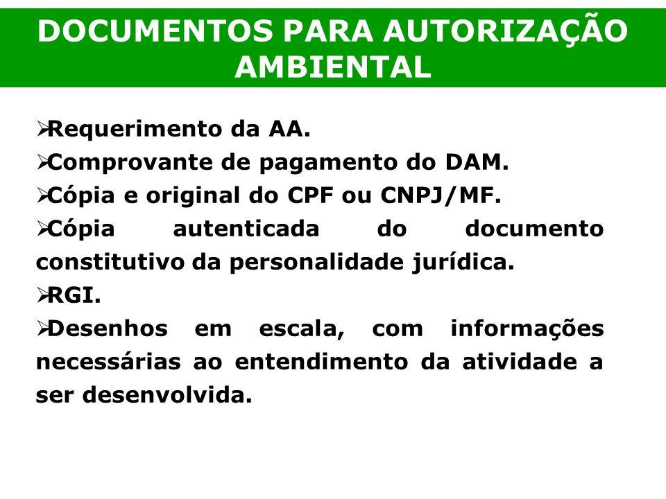 DOCUMENTOS PARA AUTORIZAÇÃO AMBIENTAL