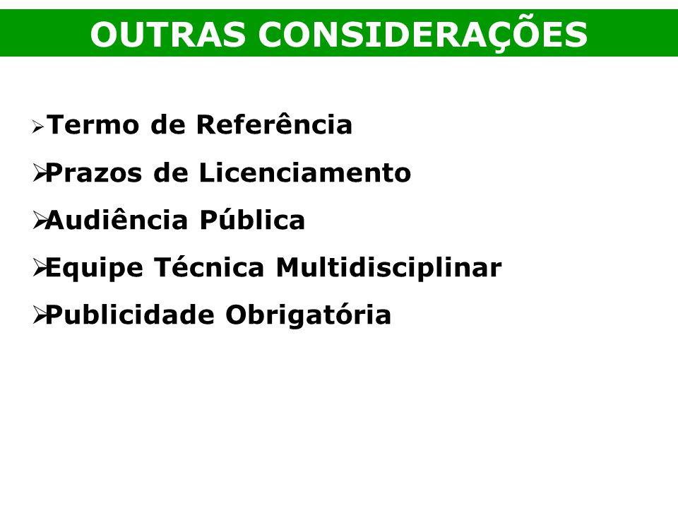 OUTRAS CONSIDERAÇÕES Prazos de Licenciamento Audiência Pública