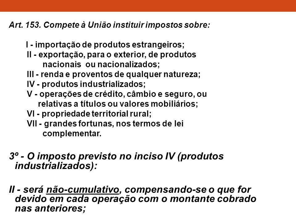 3º - O imposto previsto no inciso IV (produtos industrializados):