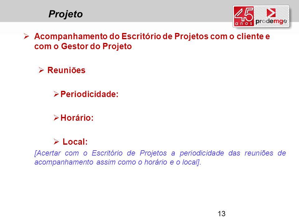 Projeto Acompanhamento do Escritório de Projetos com o cliente e com o Gestor do Projeto. Reuniões.