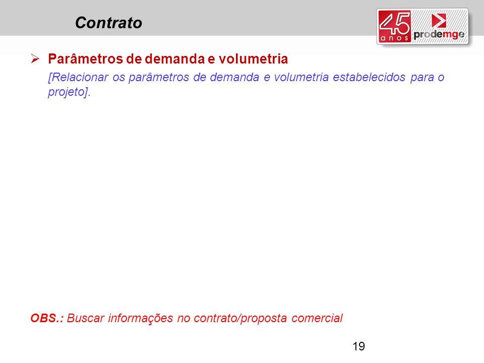 Contrato Parâmetros de demanda e volumetria