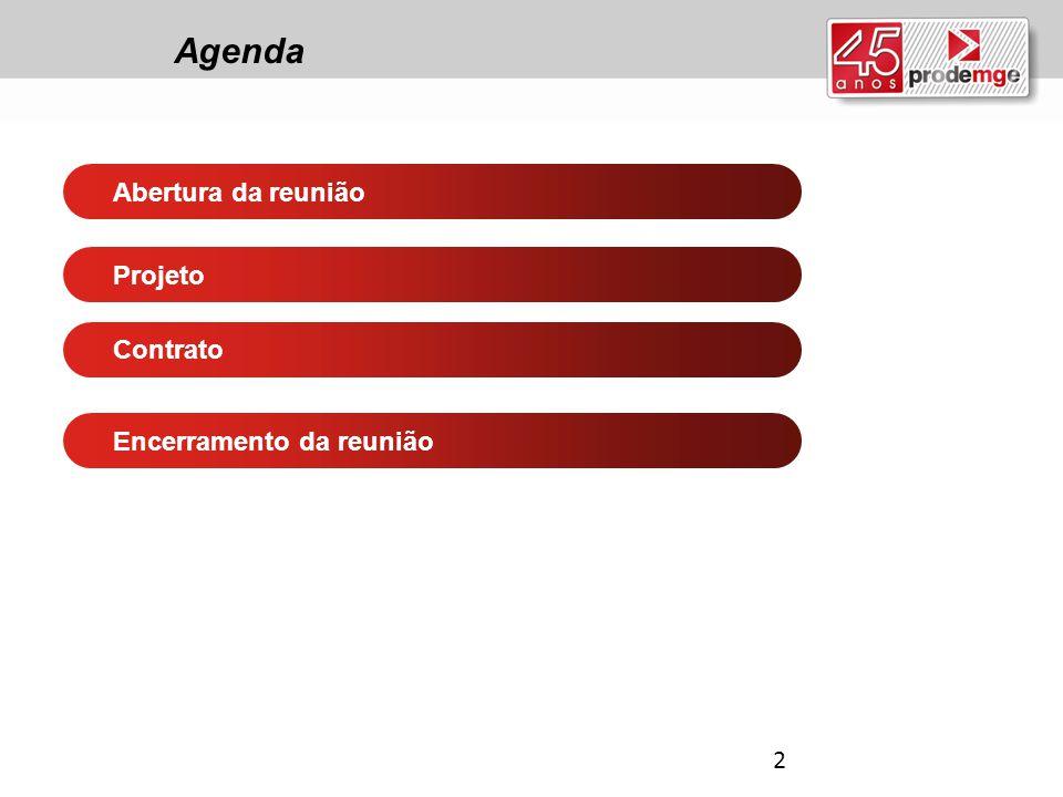 Agenda Abertura da reunião Projeto Contrato Encerramento da reunião