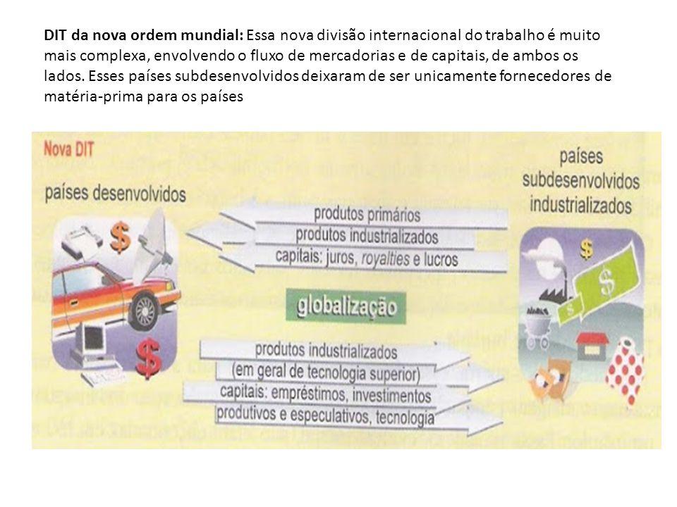 DIT da nova ordem mundial: Essa nova divisão internacional do trabalho é muito mais complexa, envolvendo o fluxo de mercadorias e de capitais, de ambos os lados.