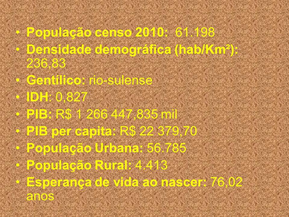População censo 2010: 61.198 Densidade demográfica (hab/Km²): 236,83. Gentílico: rio-sulense. IDH: 0,827.