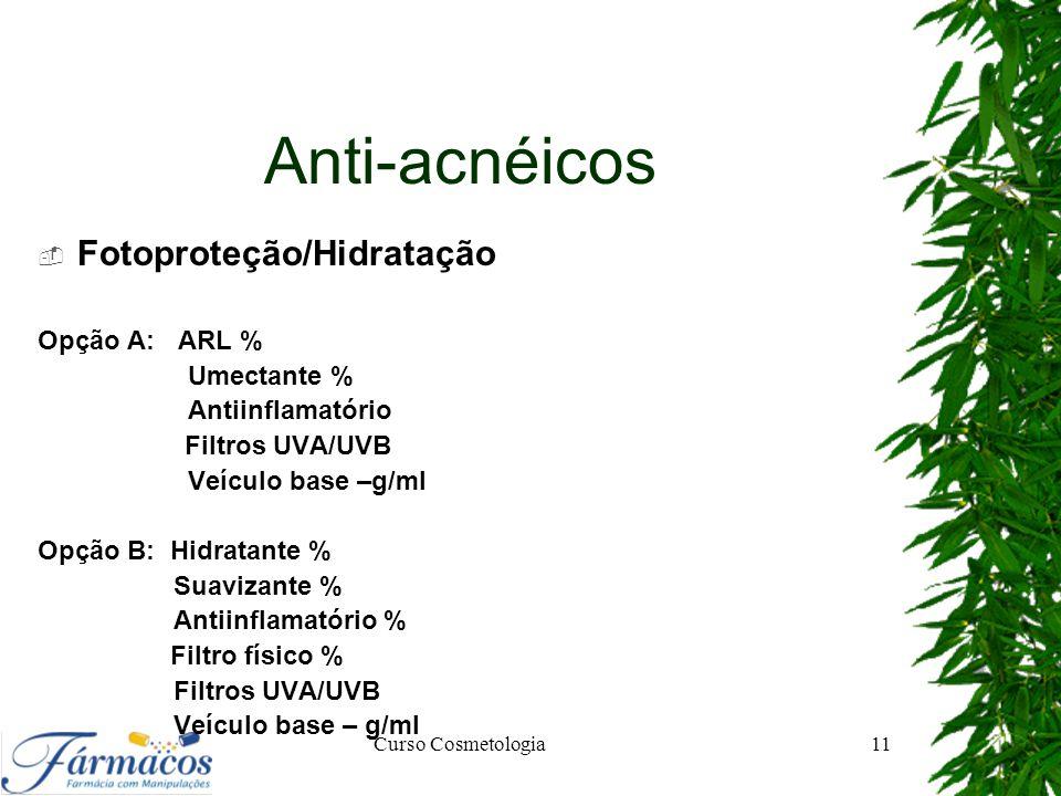Anti-acnéicos Fotoproteção/Hidratação Opção A: ARL % Umectante %