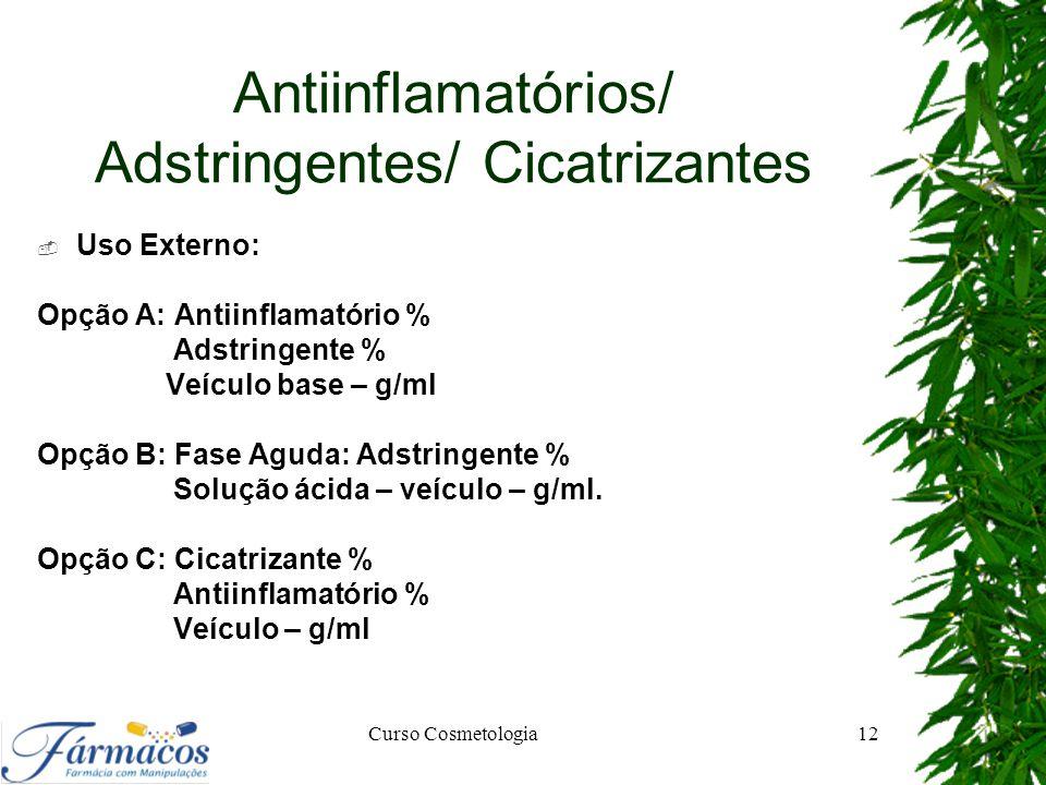 Antiinflamatórios/ Adstringentes/ Cicatrizantes
