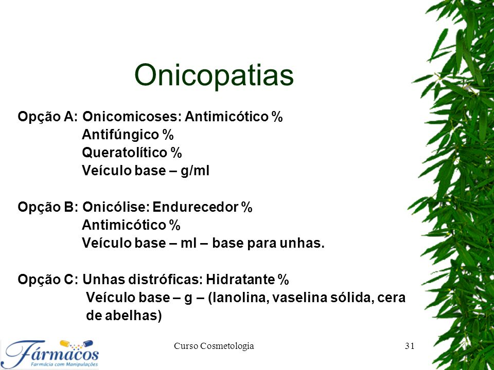 Onicopatias Opção A: Onicomicoses: Antimicótico % Antifúngico %