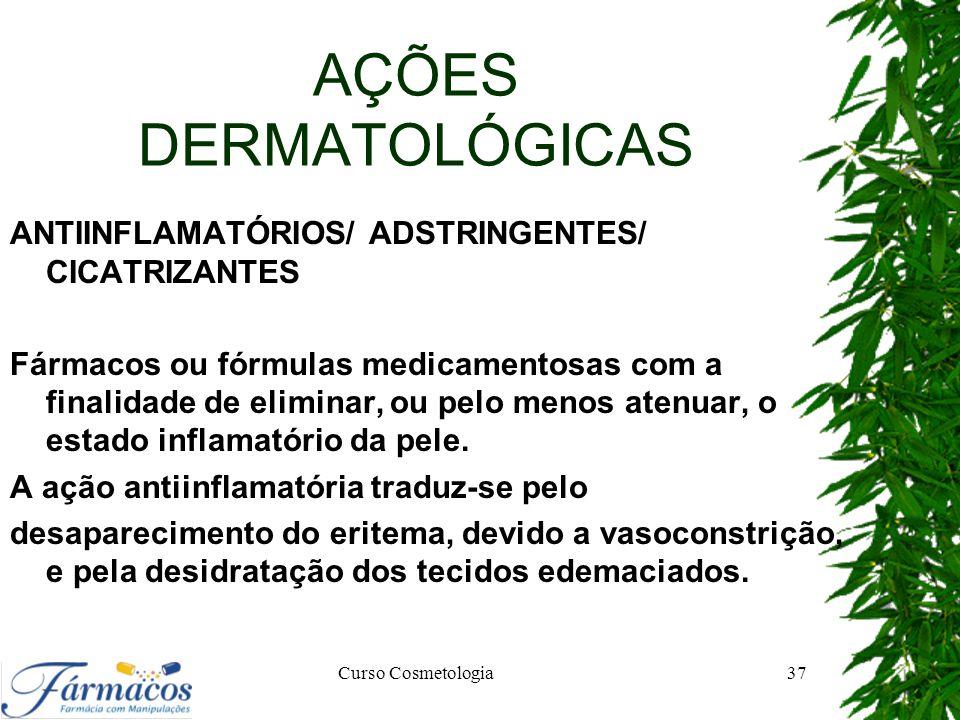 AÇÕES DERMATOLÓGICAS ANTIINFLAMATÓRIOS/ ADSTRINGENTES/ CICATRIZANTES