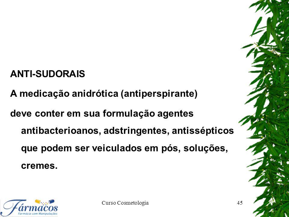 A medicação anidrótica (antiperspirante)