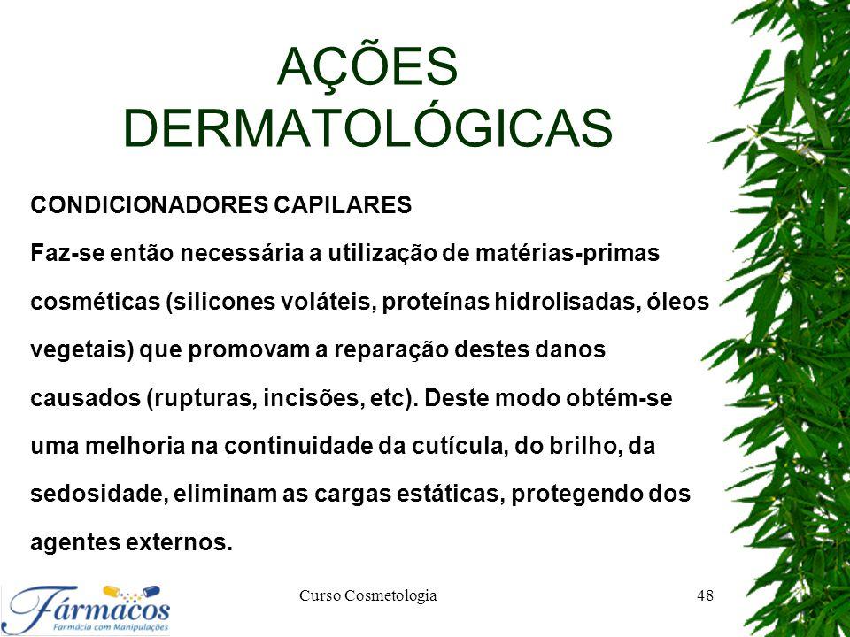 AÇÕES DERMATOLÓGICAS CONDICIONADORES CAPILARES