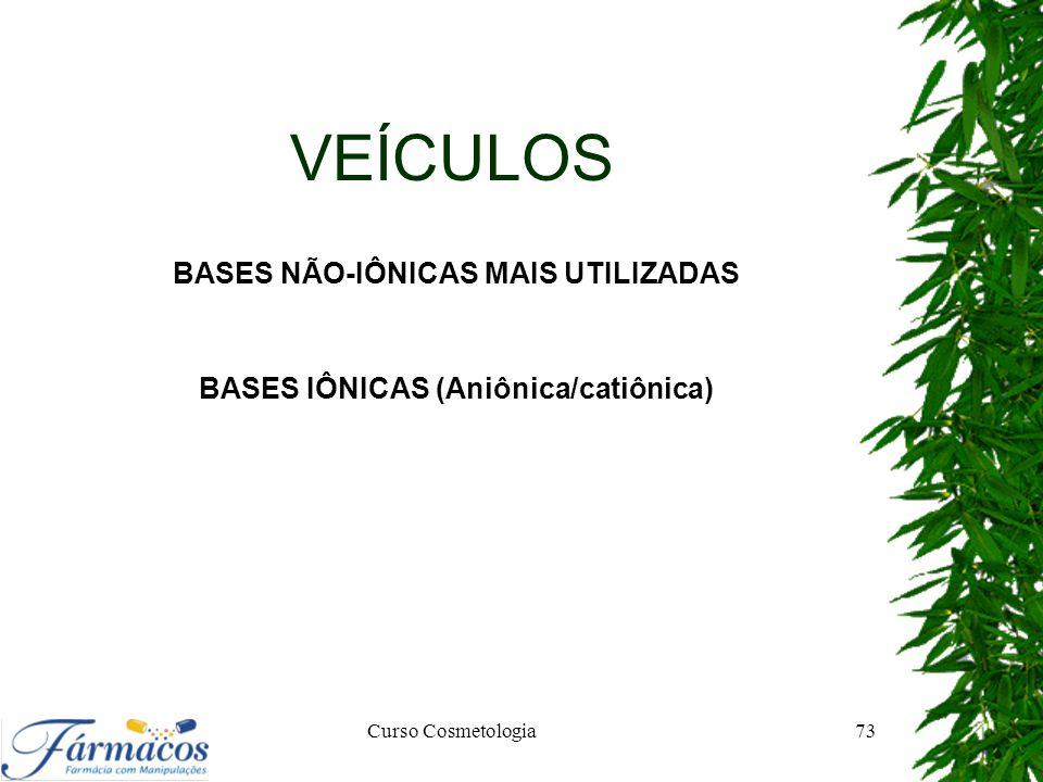 BASES NÃO-IÔNICAS MAIS UTILIZADAS BASES IÔNICAS (Aniônica/catiônica)