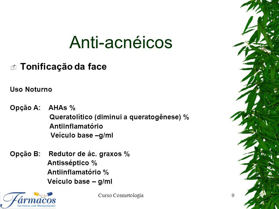 Anti-acnéicos Tonificação da face Uso Noturno Opção A: AHAs %