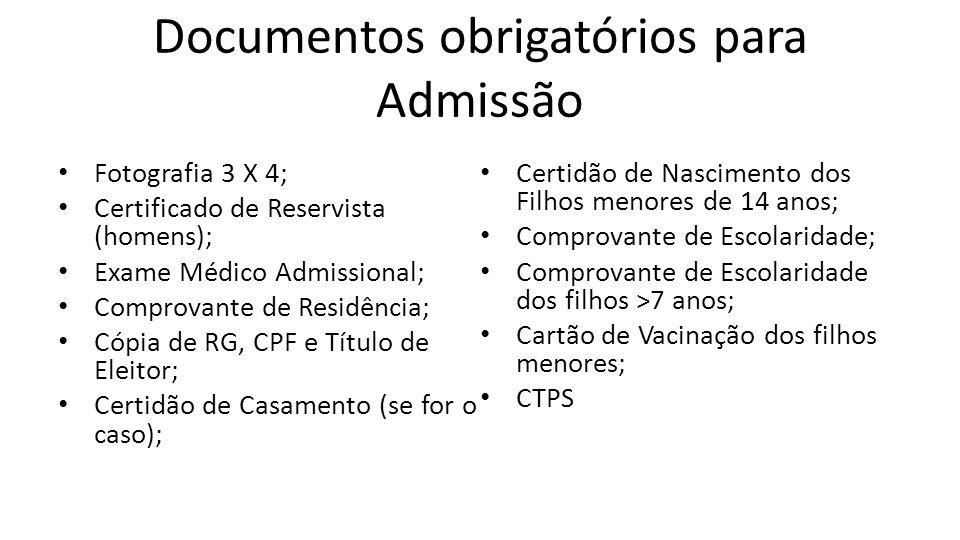 Documentos obrigatórios para Admissão