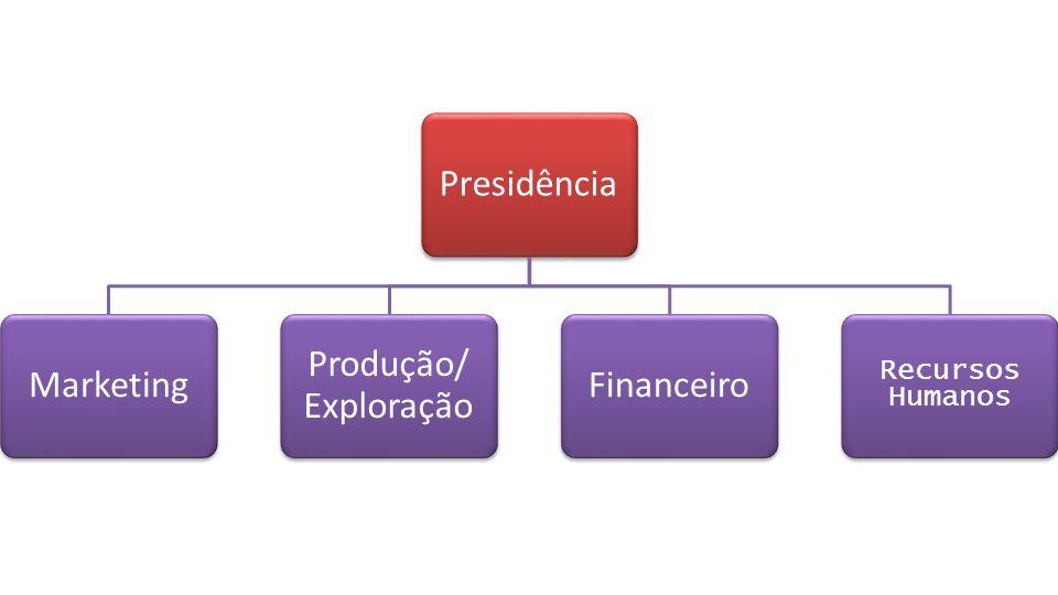 Presidência Marketing Produção/ Exploração Financeiro Recursos Humanos