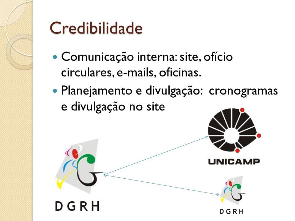 Credibilidade Comunicação interna: site, ofício circulares, e-mails, oficinas.