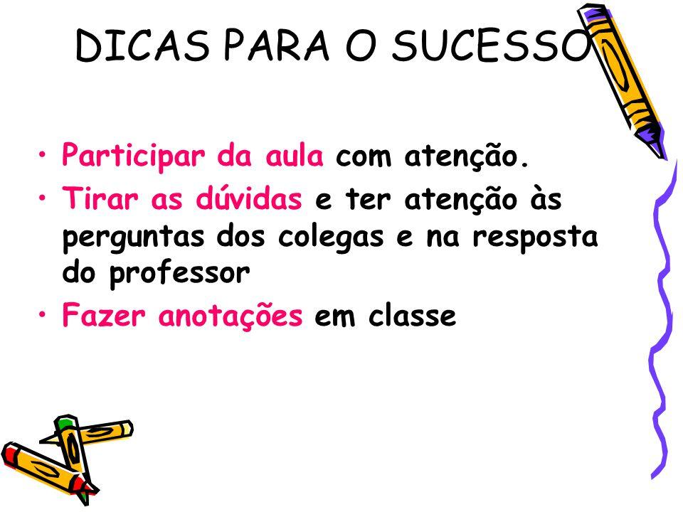 DICAS PARA O SUCESSO Participar da aula com atenção.