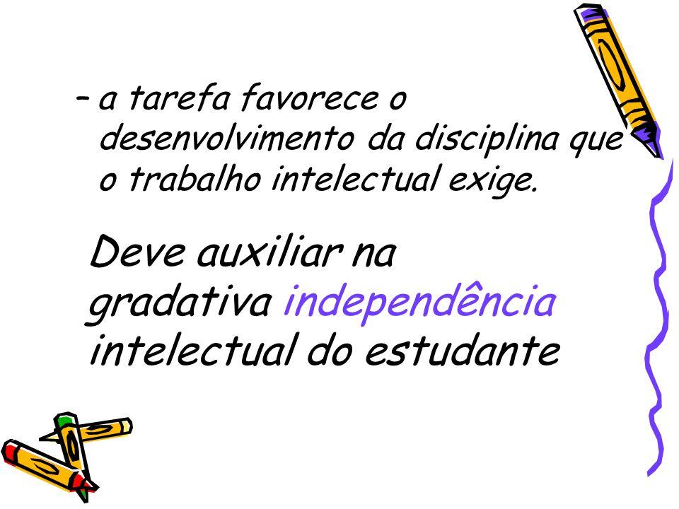 Deve auxiliar na gradativa independência intelectual do estudante