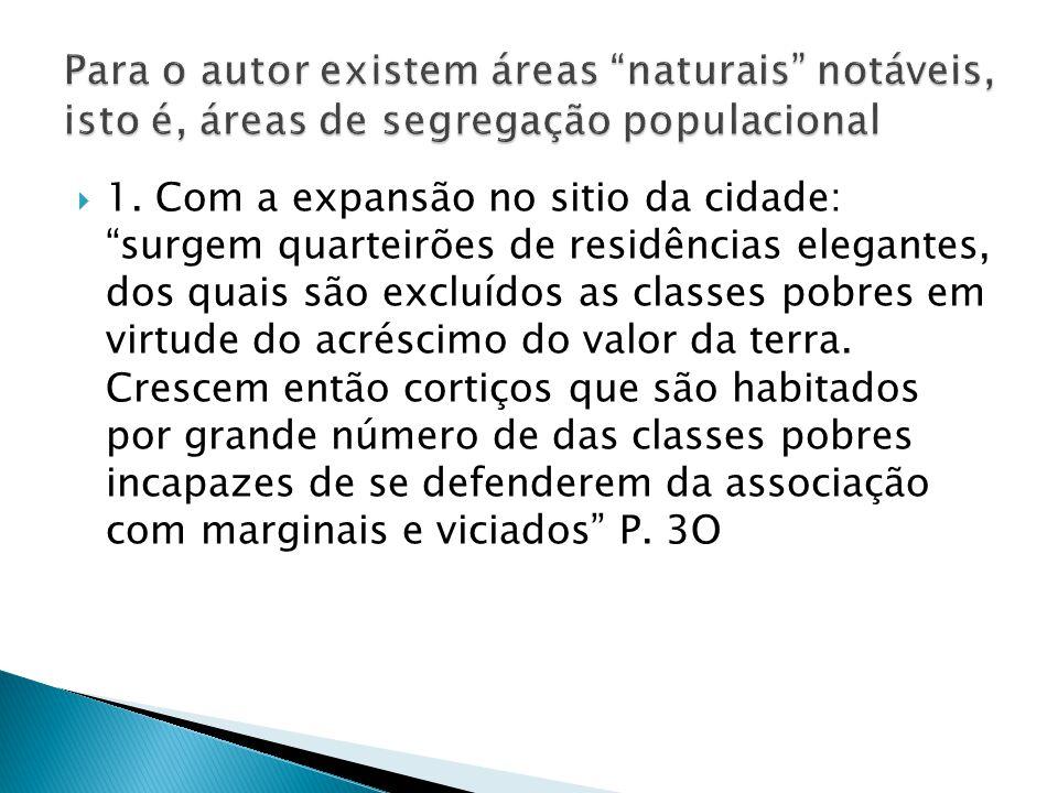 Para o autor existem áreas naturais notáveis, isto é, áreas de segregação populacional