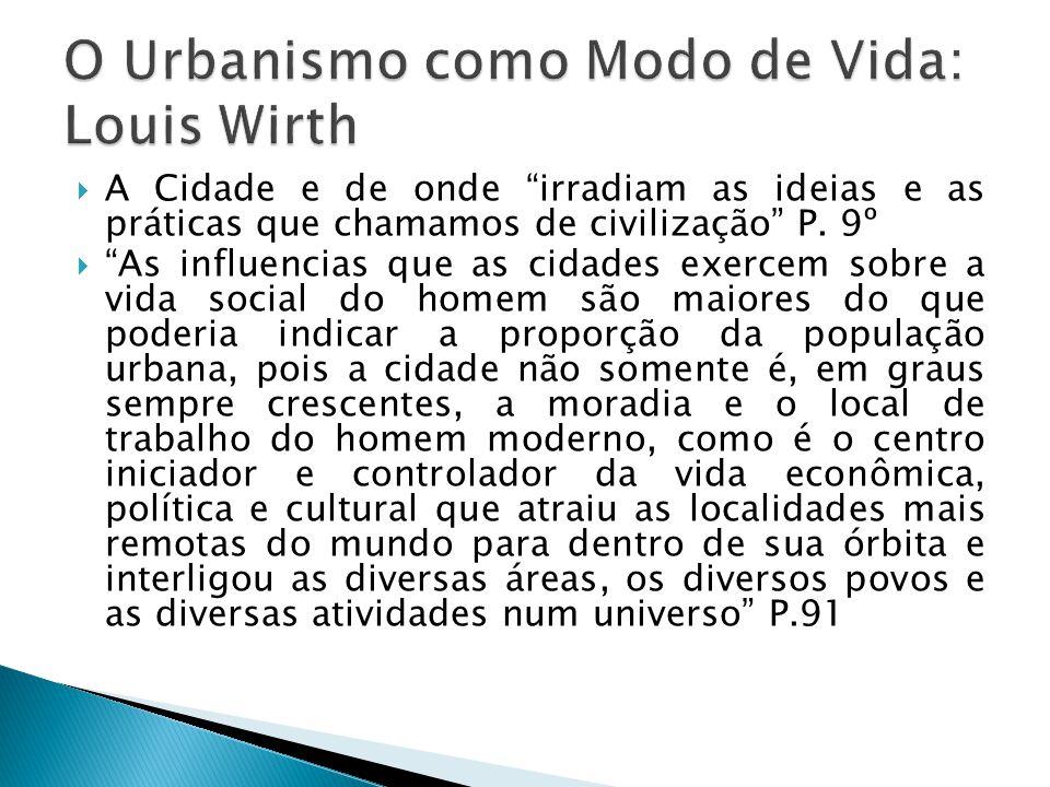 O Urbanismo como Modo de Vida: Louis Wirth