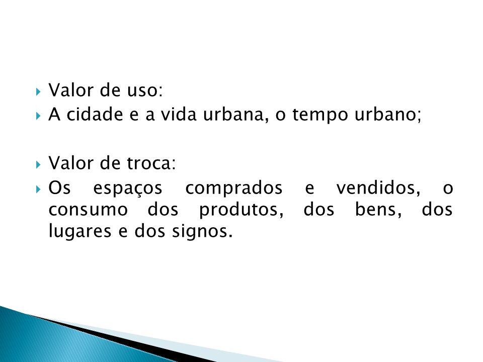 Valor de uso: A cidade e a vida urbana, o tempo urbano; Valor de troca: