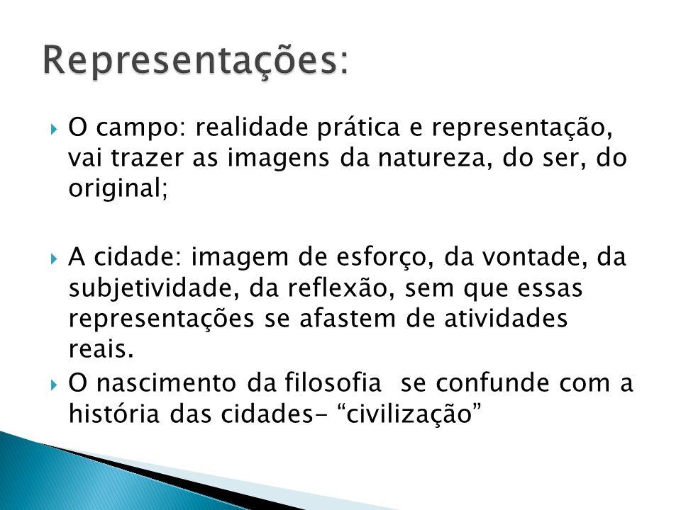 Representações: O campo: realidade prática e representação, vai trazer as imagens da natureza, do ser, do original;