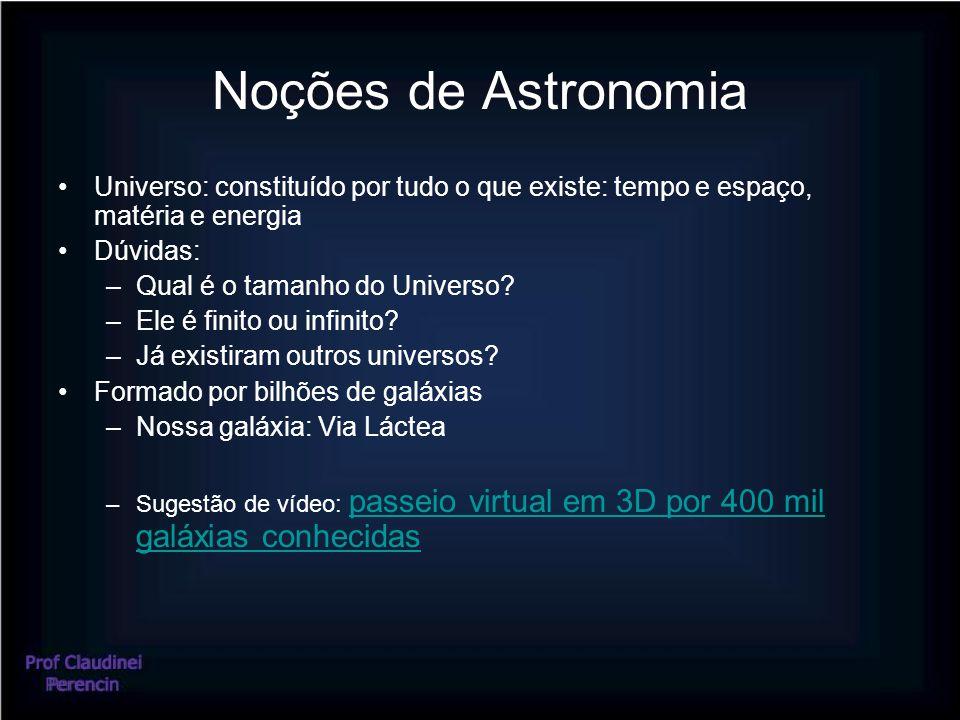 Noções de Astronomia Universo: constituído por tudo o que existe: tempo e espaço, matéria e energia.